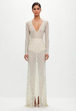 Peace + Love Nude Lattice Embellished Split Front Maxi Dress
