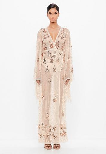 Peace Love Nude Kimono Sleeve Embellished Maxi Dress