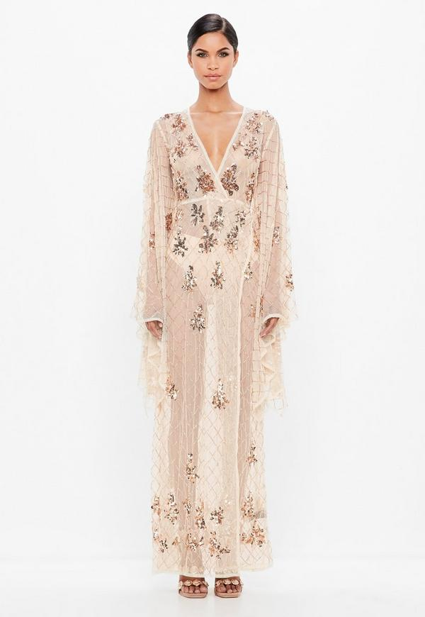 peace  love nude kimono sleeve embellished maxidress
