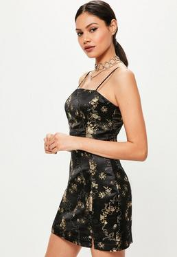 Black Silky Brocade Square Neck Bodycon Dress