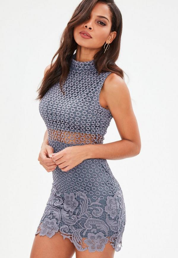 Blue High Neck Lace Sleeveless Embroidered Bodycon Dress