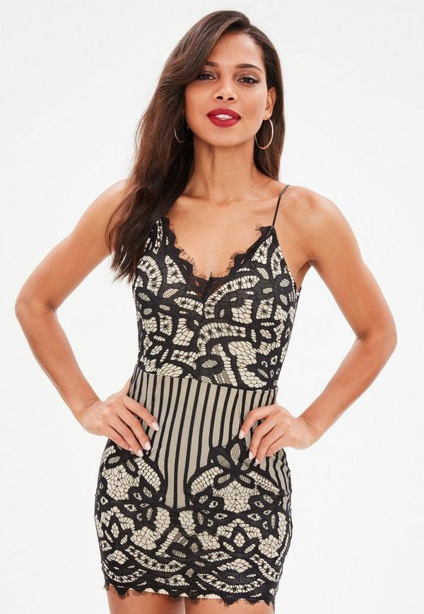 Black Lace Strappy Plunge Bodycon Dress