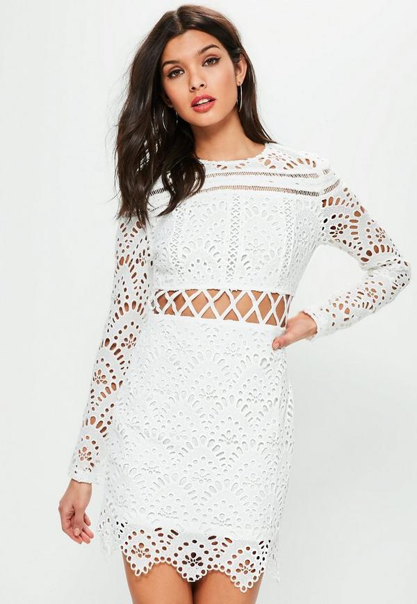White Lace Long Sleeve Cross Waist Dress