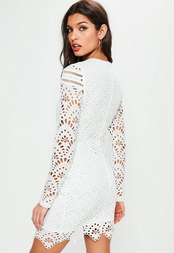 White Lace Long Sleeve Cross Waist Dress | Missguided