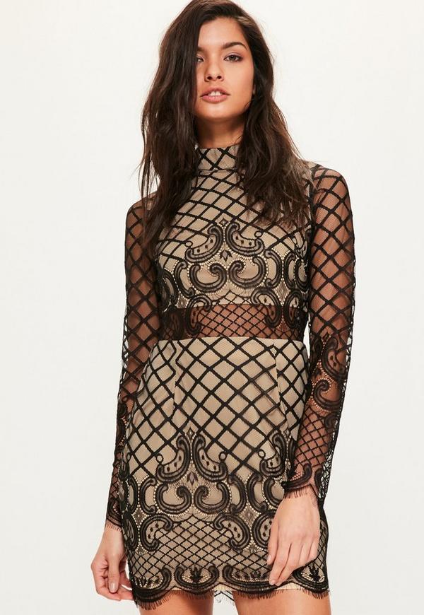 Black Lace Long Sleeve Cross Dress