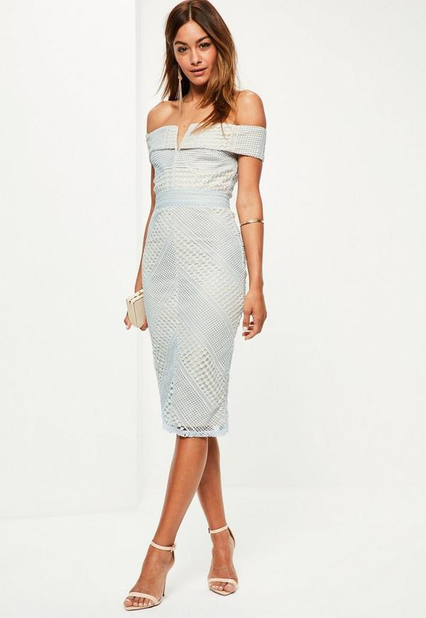 Blue Lace V Bar Bardot Midi Dress