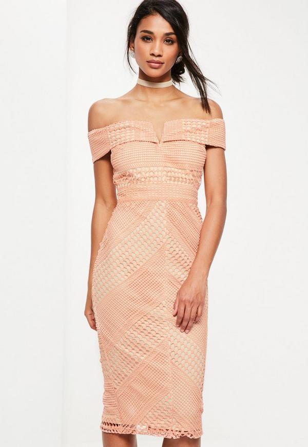 Pink Lace V Bardot Midi Dress