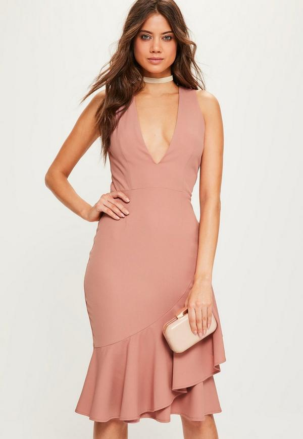 Pink Crepe Sleeveless Ruffle Hem Midi Dress