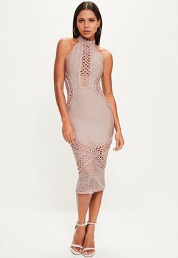 Purple Bandage and Lace Midi Dress