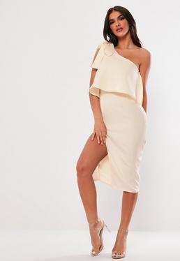 Nude One Shoulder Bow Sleeve Midi Dress
