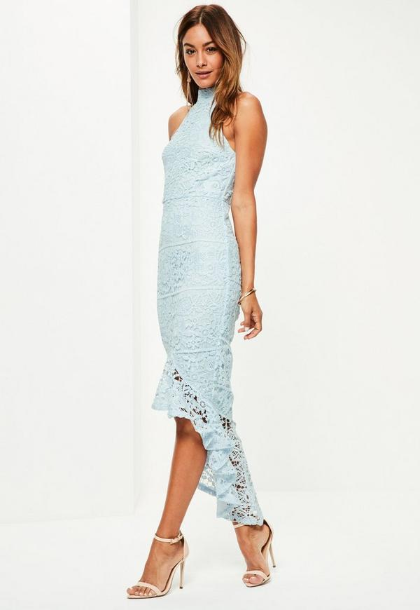 Blue Lace High Neck Fishtail Midi Dress