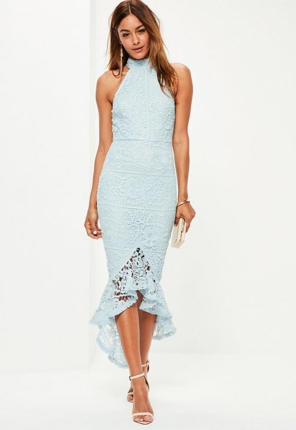Blue Lace High Neck Fishtail Midi Dress Missguided
