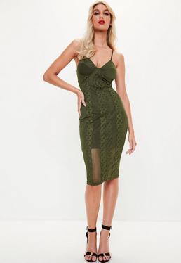 Khaki Strappy Bust Cup Trim Midi Dress