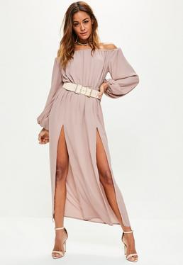 Pink Bardot Balloon Sleeve Split Maxi Dress