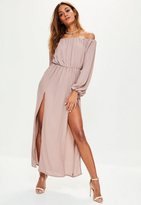 Pink Bardot Balloon Sleeve Split Maxi Dress