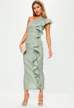 Green One Shoulder Frill Maxi Dress