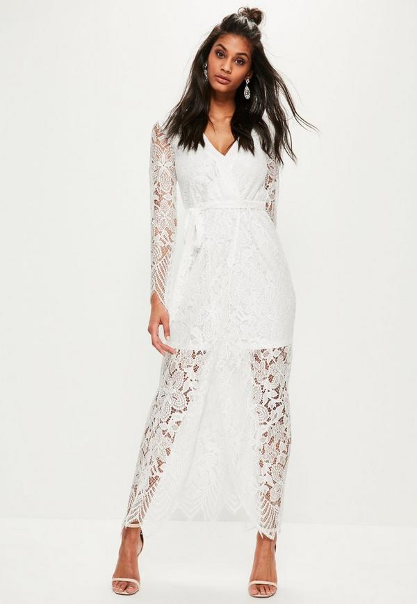 White Lace Wrap Tie Front Maxi Dress