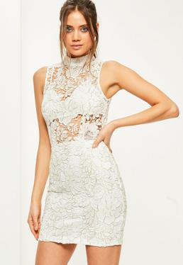White High Neck Sleeveless Corded Lace Shift Dress