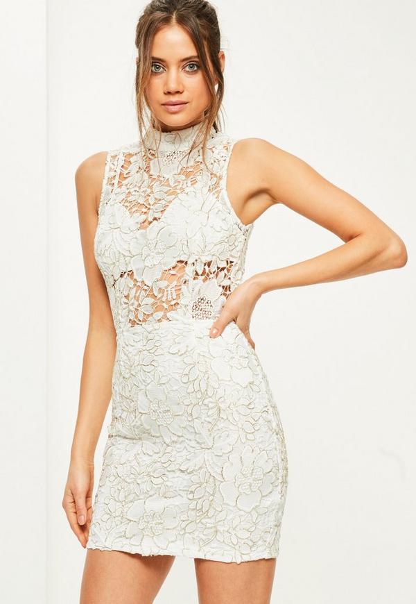 White High Neck Sleeveless Corded Lace Shift Dress