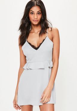 Grey Silky Peplum Eyelash Lace Shift Dress