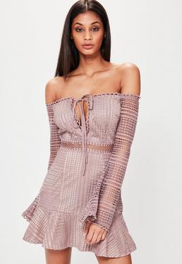 Pink Bardot Lace Frill Hem Shift Dress