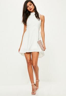 Weißes Skater Kleid mit Stehkragen
