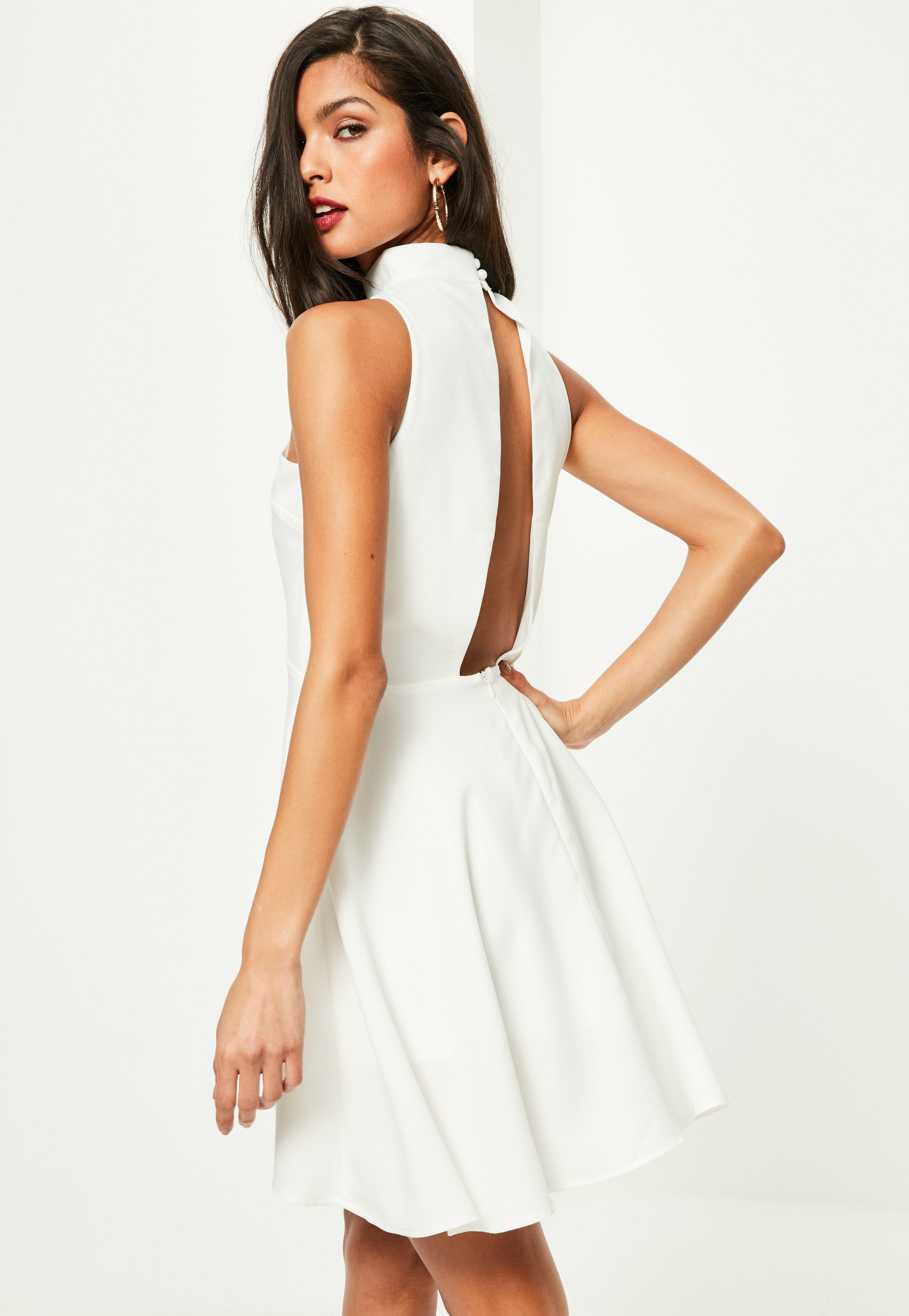 a62aa6280 Missguided White High Neck Dipped Hem Sleeveless Skater Dress at £30 ...