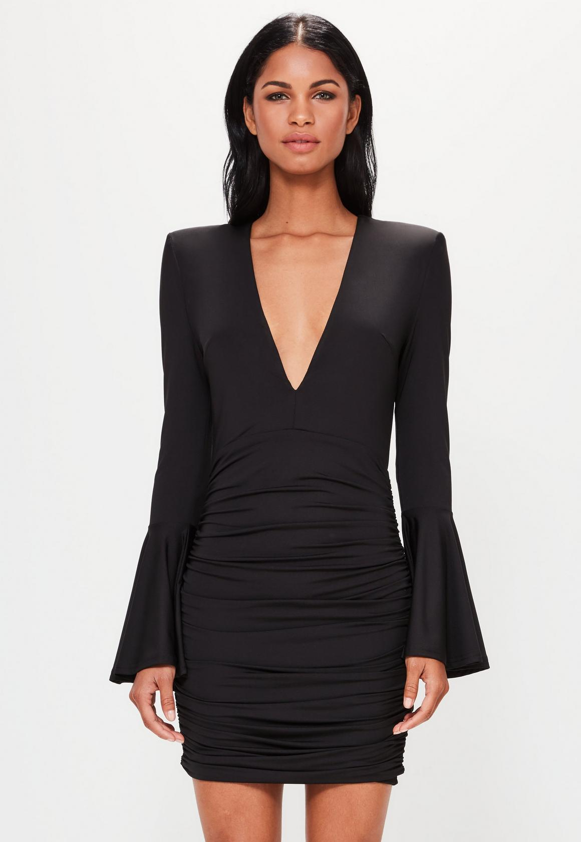 Black dress next - Peace Love Black Plunge Bell Sleeve Bodycon Dress 152 00 Previous Next