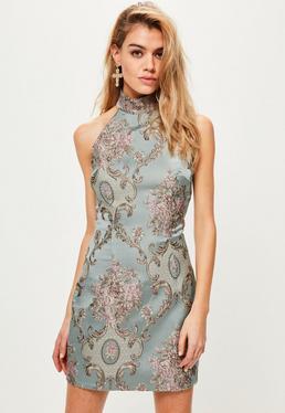 Blue Brocade High Neck Bodycon Dress