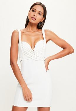 White Crepe Sweetheart Strap Detail Bodycon Dress