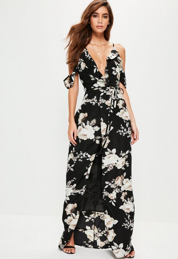 black floral cold shoulder maxi dress missguided