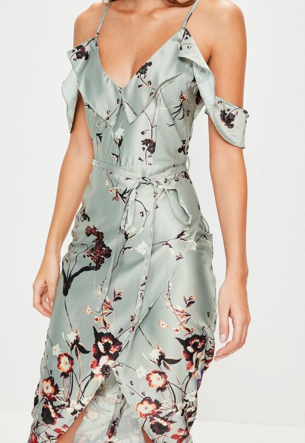 Grey Frill Floral Midi Dress Missguided