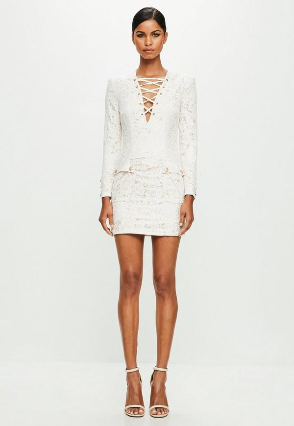 Peace + Love White Lace Up Front Bodycon Dress
