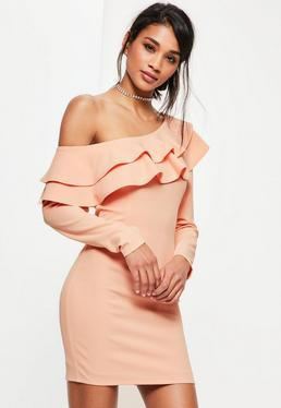 Pink Frill Off The Shoulder Bodycon Dress