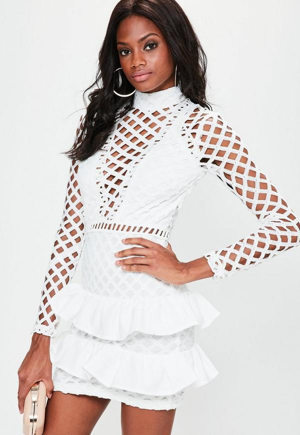 White Lace Long Sleeve Ruffle Detail Dress