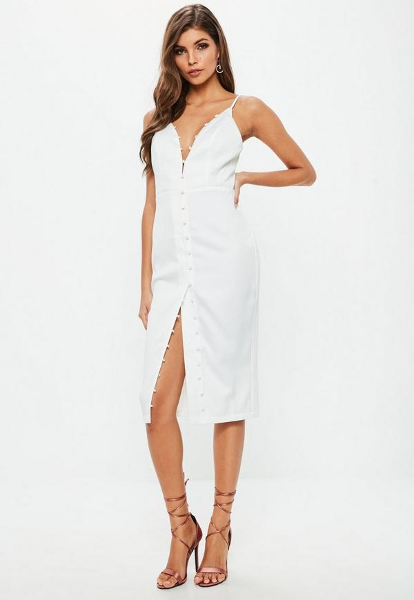 White Crepe Button Detail Midi Dress