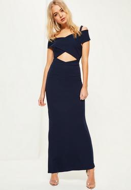 Granatowa sukienka maxi bardot z krepy
