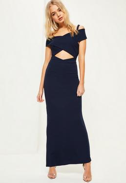Navy Crepe Bardot Strap Detail Maxi Dress