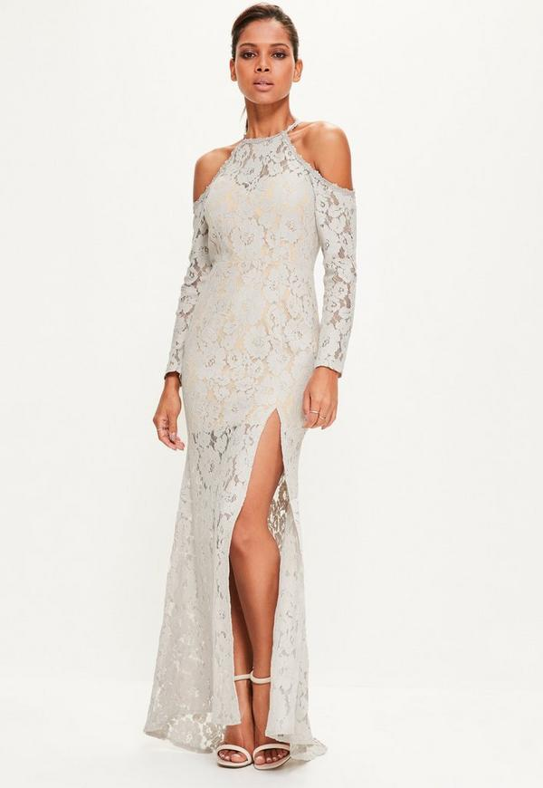 Grey Lace Cold Shoulder Maxi Dress