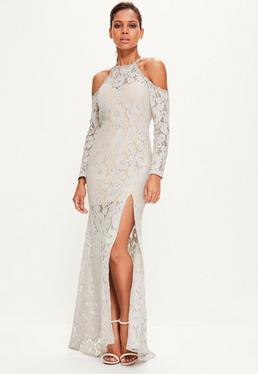Szara koronkowa sukienka maxi z wyciętymi ramionami