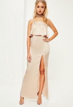 Nude Silky Double Layer Maxi Dress