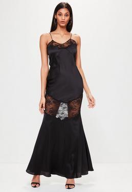 Czarna satynowa sukienka maxi na ramiączkach z koronką