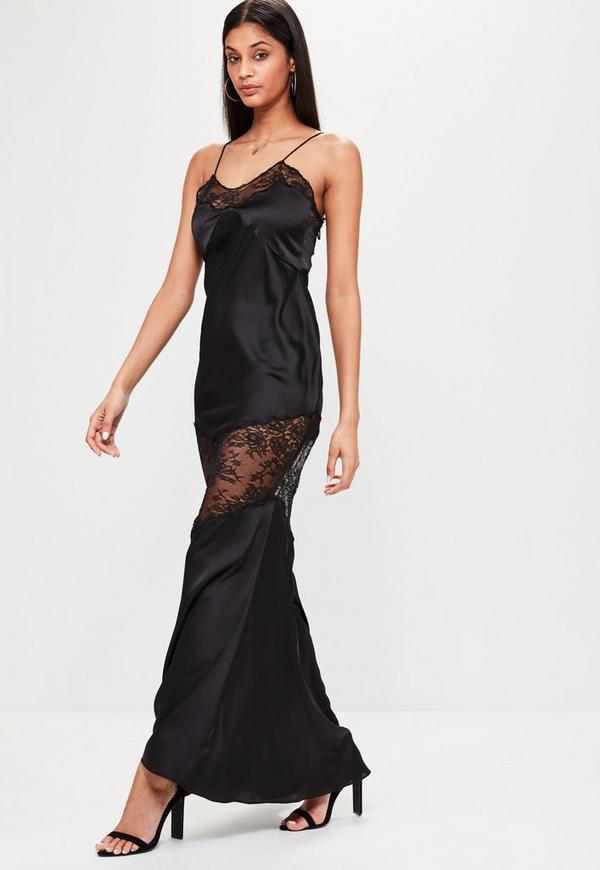Available In Black Satin Maxi Dress Lace Trim Wrap Tie High Opening % Polyester.