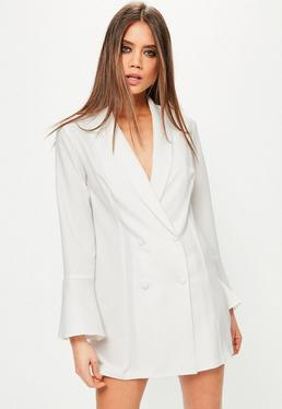 White Crepe Flared Sleeve Tux Dress