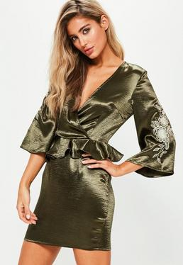 Khaki Satin Flared Sleeve Embroidered Shift Dress