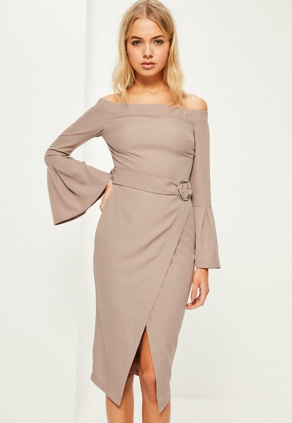 Grey Bardot Flared Sleeve Belt Midi Dress