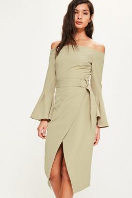 Green Bardot Flared Sleeve Ring Belt Midi Dress