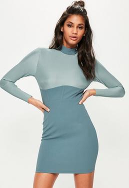 Plissiertes Langarm-Kleid im futuristischen Korsett-Design in Blau