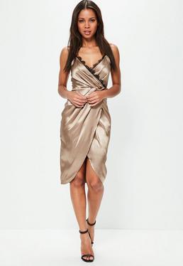 Bronze Satin Eyelash Trim Midi Dress