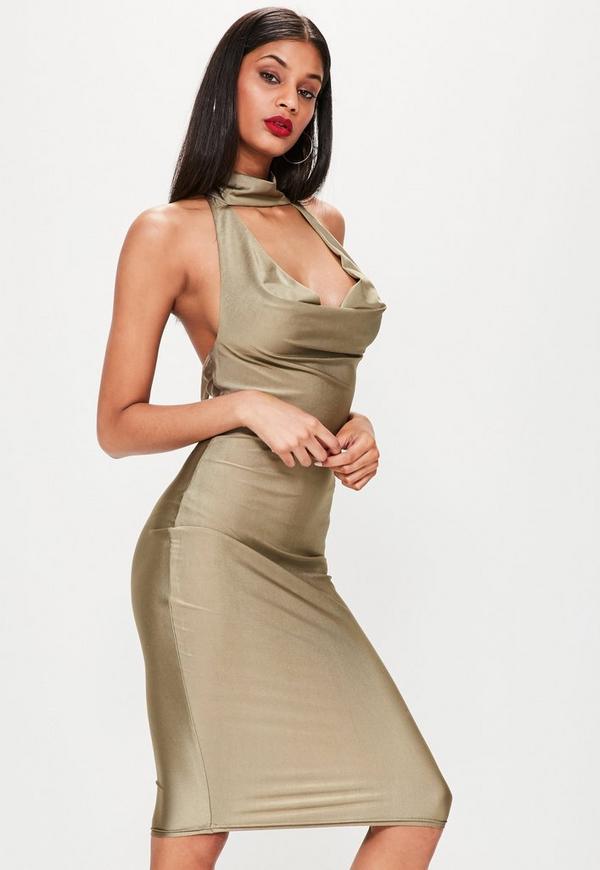 Khaki Slinky Cowl Neck Midi Dress